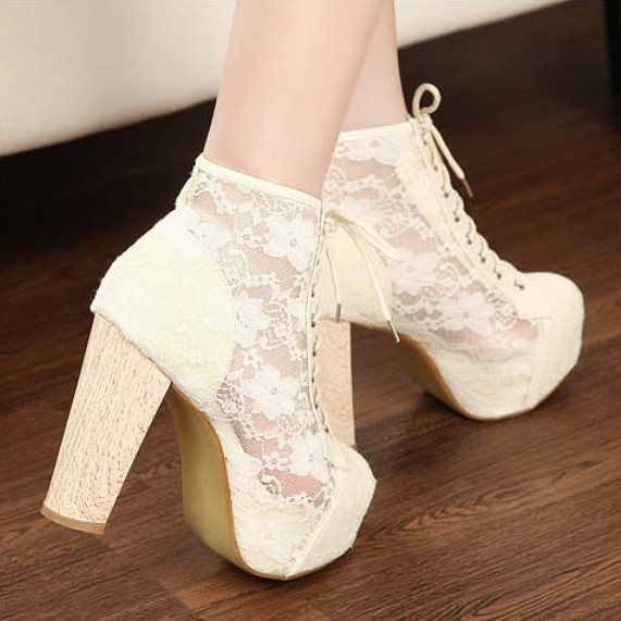 Gorgeous Womens See Through Lace High Heels Platforms Shoes Lace Up Block 1M9 | eBay