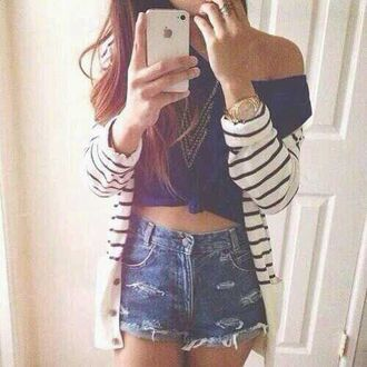 sweater shirt jacket jewels shorts style girl crop tops cardigan denim beautiful hair pink blue shirt fashion iphone 5 case outfit swag girly white black high waisted denim shorts high waisted shorts t-shirt
