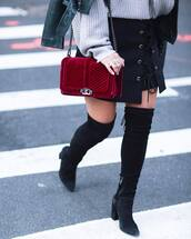 skirt,tumblr,asymmetrical,asymmetrical skirt,mini skirt,black skirt,lace up skirt,velvet,red bag,chain bag,sweater,grey sweater,boots,black boots,high heels boots,thigh high boots,over the knee boots