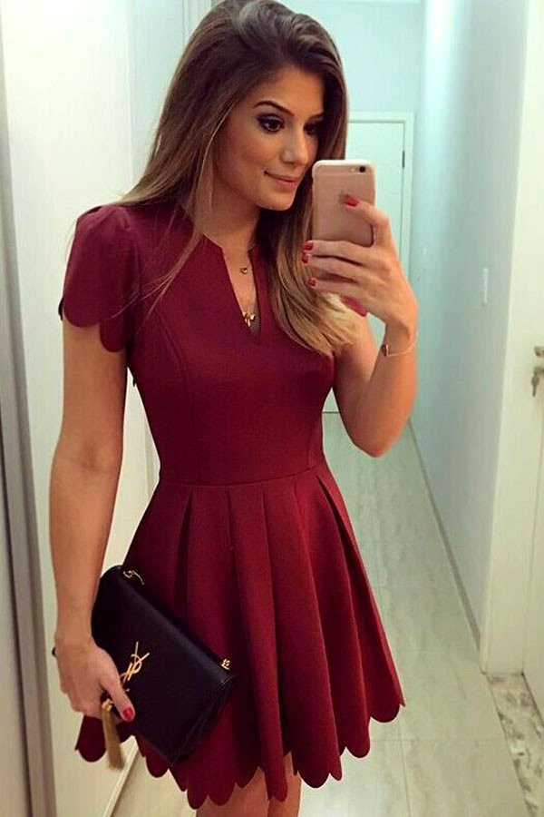 Dress: red, wine red, dark red, dark red dress, red dress ...