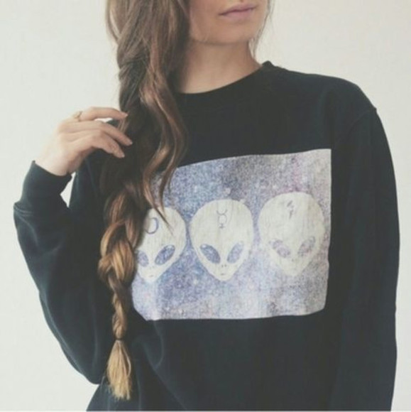 hipster clothes from tumblr clothes sweater/sweatshirt alien