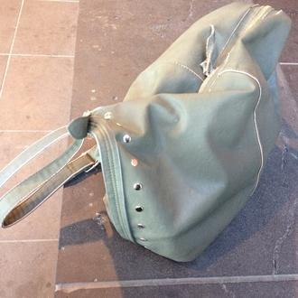 bag army green studs cross shoulder large bag