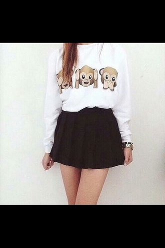 sweater emoji print fashion style monkey