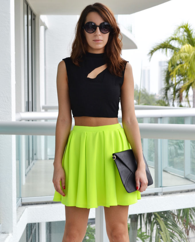 Amazing bright neon yellow skirt featuring a neon bright color, skater style and a hidden side zipper - this little number will command attention!