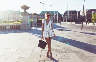 kenza blogger shoes romper bag sunglasses jewels