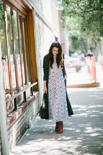 themiddlecloset blogger sweater dress shoes bag maxi dress boots fall outfits chanel bag cardigan long cardigan