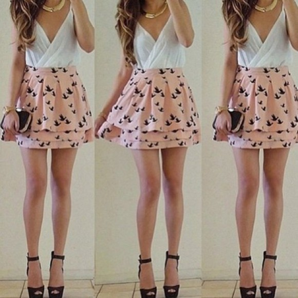pink romantic skirt bird jupe ruffle skirt