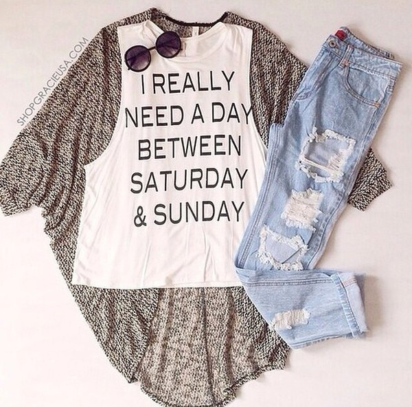 t-shirt shirt jeans denimn cardigan sunglasses