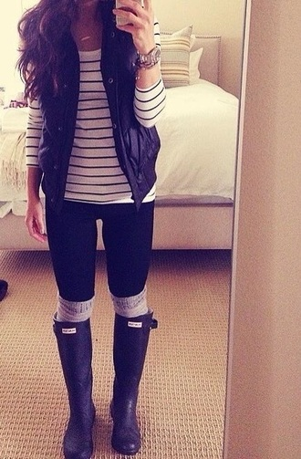 shirt vest navy fashion fall outfits hunter boots style pinterest