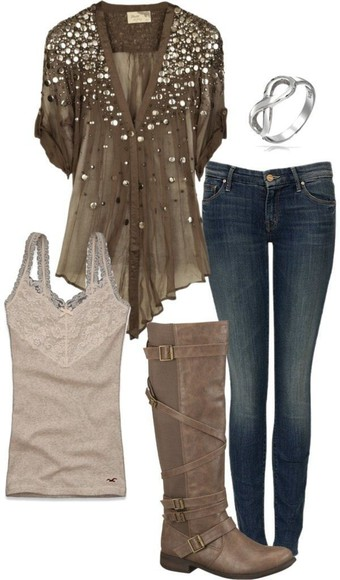 stud studded blouse shirt flowy rolled sleeves top brown green