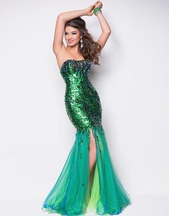 dress disney ariel prom dress blue and green
