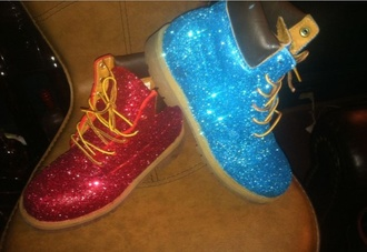 shoes glitter timberland boots pink blue red glitter boots glitter timberlands