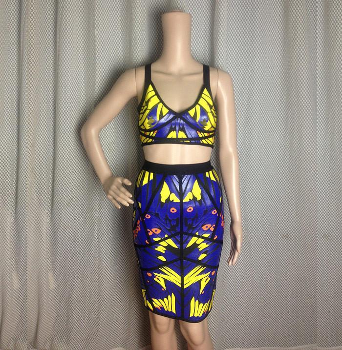 Elegante Mergulhando Neck Resumo Imprimir duas peças de culturas Suits Top   Saia Bandage em Vestidos de Roupas & acessórios no AliExpress.com