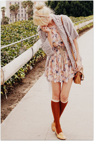 dress floral dress pink dress beautiful cardigan grey cardigan wool wool cardigan bag sweater cute dress pretty tumblr tumblr girl tumblr clothes tumblr fashion
