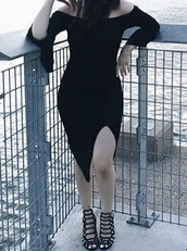 dress,black,black dress,off the shoulder,bell sleeves,bodycon dress,slit dress