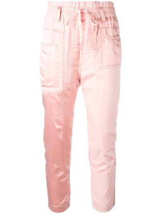 cropped women cotton purple pink pants