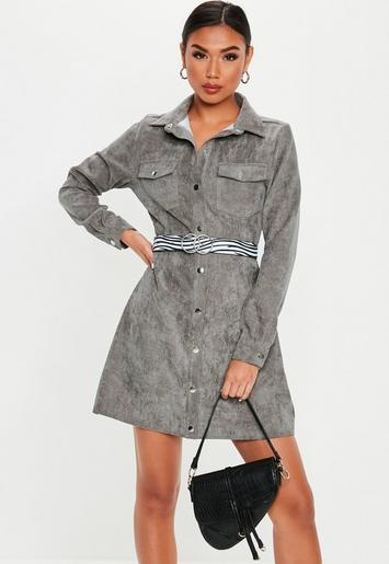 Missguided - Grey Cord Skater Shirt Dress