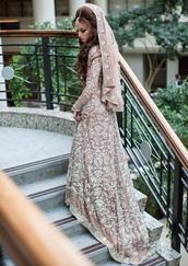 dress,long dress,lace,long sleeves,mermaid prom dress,engagement party dress,white long dress,lace dress,long lace dresses,indian dress,gorgeous,gorgeous dress,wedding dress,brown dress,pakistan,wedding clothes,long sleeve dress,satin dress