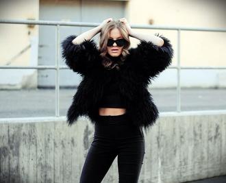 black jacket faux fur fuzzy coat fluffy black black coat