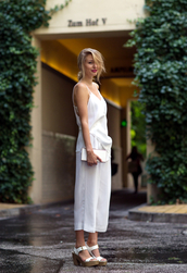 ohh couture,top,shoes,bag,jumpsuit,white,summer outfits,sandals,high heels,platform shoes,white shoes,pants,zara,plateau,beach