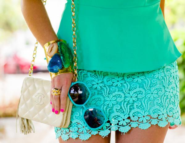 shorts blue green t-shirt accessories sunglasses bracelets skirt