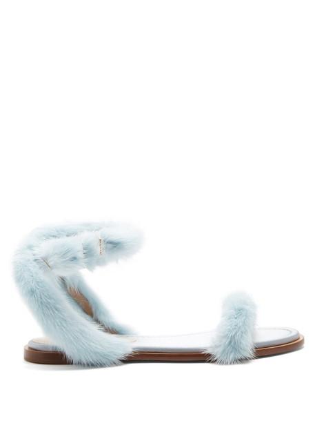 Valentino fur sandals light blue light blue shoes