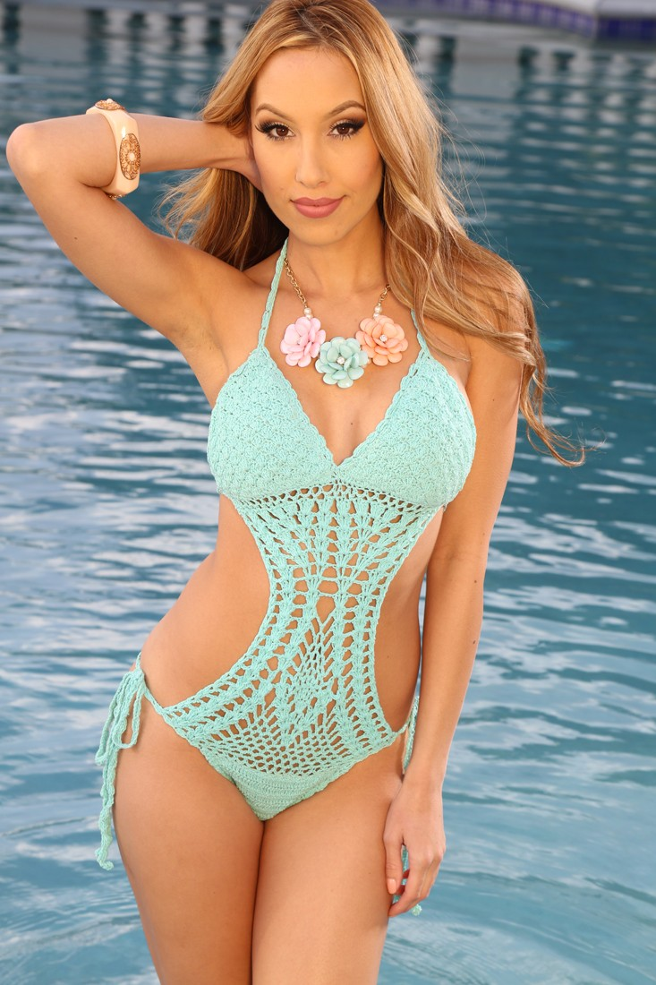 Mint Knit Sexy Pucker Back Monokini @ Amiclubwear One-piece swimsuits Online Store,one-piece swimsuits,tank suit,leotard,simply one-piece,monokini,sheer bikini,thong swimsuit,sling bikini,pretzel suit,one piece swimming suits,1-piece swimsuits,1 piece swi