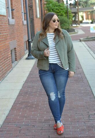 mommyinheels blogger jacket top jeans shoes sunglasses pants