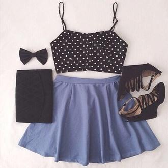 shoes skirt too top polka polka dots now