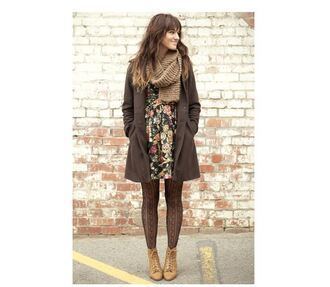 coat knitted scarf brown leather boots shoes dress trench coat floral floral dress ombre hair wedges tights wool scarf scarf fall outfits trendy spring spring outfits tumblr instagram flowers cute dress cute outfits jacket