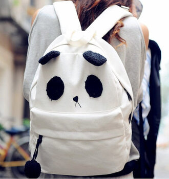 bag black panda white backpack girly wishlist tumblr kawaii cute japanese korean style korean fashion black and white nice cool funny youth young teenagers guys girl