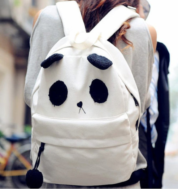 Bag: black, panda, white, backpack, girly wishlist, tumblr, kawaii ...