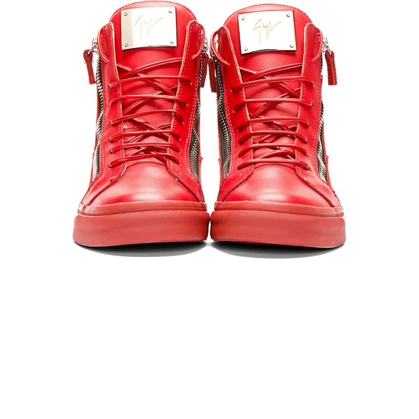 Giuseppe Zanotti - Red Leather High-Top Sneakers | SSENSE