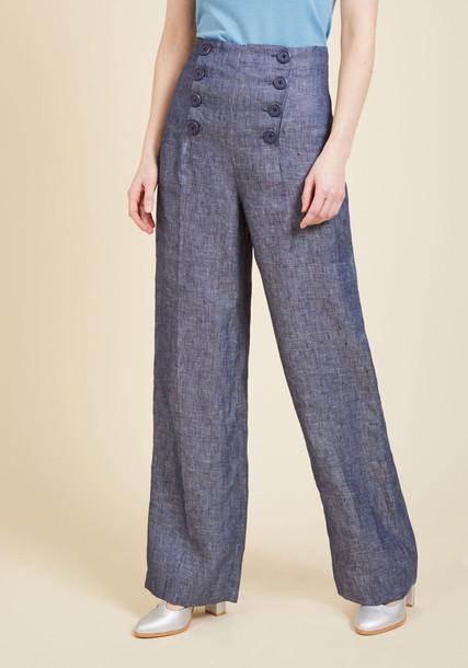 BIH203938 high silver navy blue pants