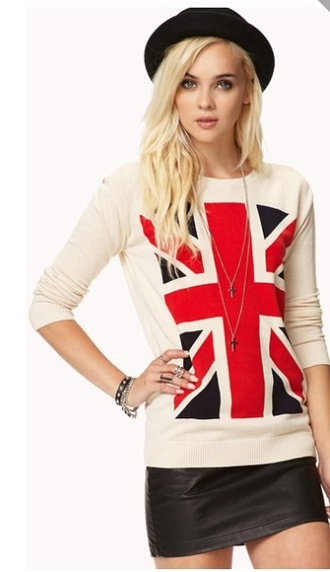 shirt clothes topshop british flag top cream top full sleeve shirt sweater sexy sweater