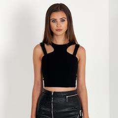 Leather Buckle Detail Crop Top - Black