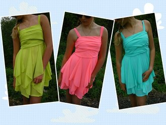 dress pink dress green dress blue dress neon dress mini dress neon colors summer dress
