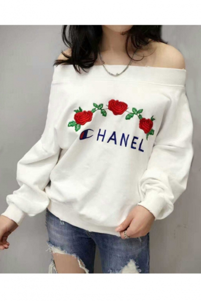 sweater fashion style trendy floral off the shoulder long sleeves