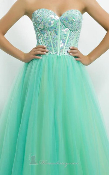 turquoise gown mint long tutu material sparkles long open back dress