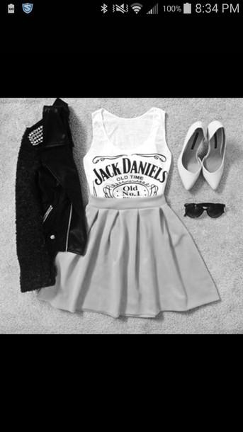 jacket shirt skirt shoes sunglasses