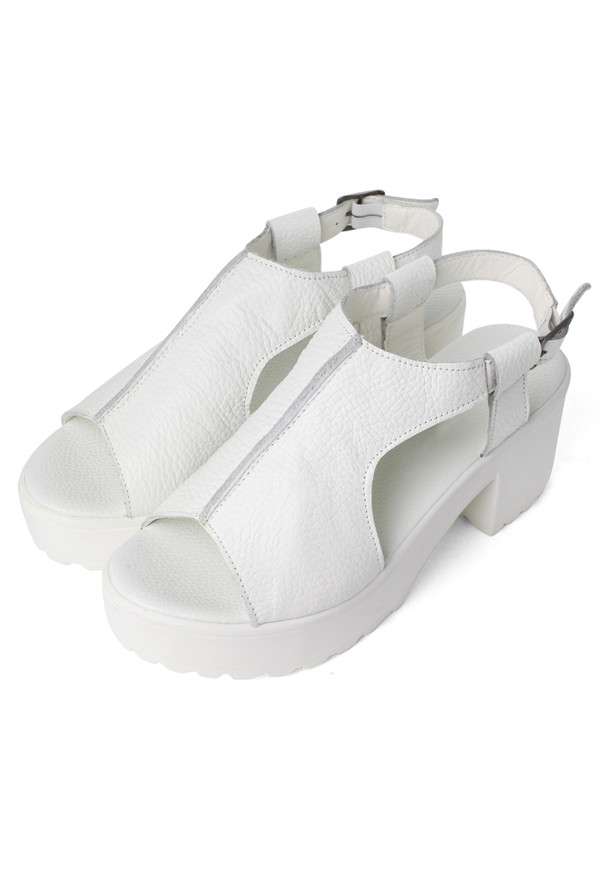 shoes white leather cut-out peep toe sandals