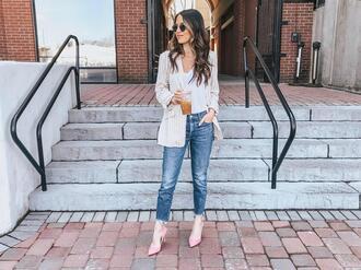 ohsoglam blogger jacket t-shirt jeans shoes jewels bag sunglasses pink heels blazer spring outfits