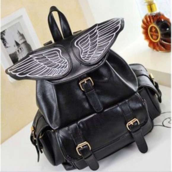 K-pop korea japan ulzzang free shipping bag black leather bag backpack wings wings backpack trendy gyaru hipster japam