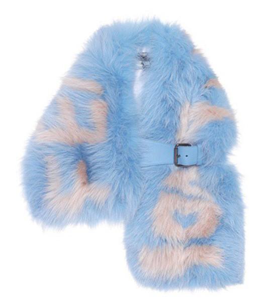 fur scarf fur scarf blue