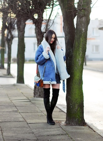 jacket blue shearling jacket coat winter outfits fashion style fashion style warm suede blue shearling jacket 2016 blogger thigh-high boots