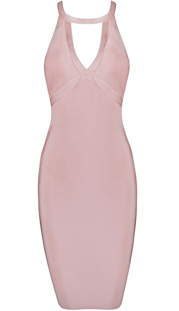 Strappy Back Cut Out Midi Bandage Dress Pink