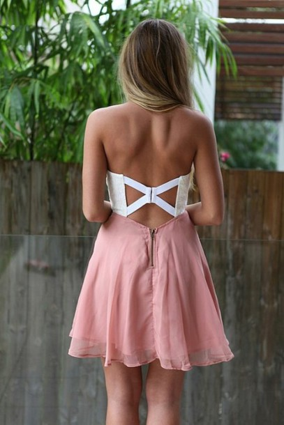 dress pink white backless