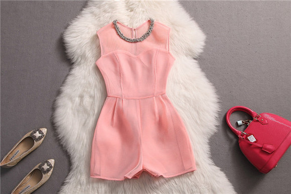 fashion pink girl summer outfits jumpsuit jumpsuits clothing
