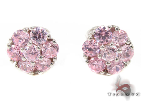 Pink Diamond Cluster Earrings 12514