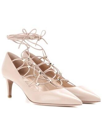 pumps lace leather beige shoes